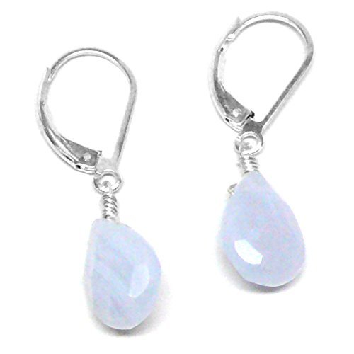 Blue Lace Agate Briolette Lever Back Earrings Sterling Silver