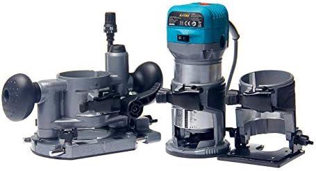 KATSU Juego de Fresadora de Madera Rebajadora Eléctrica 220V 710W con 3 Bases + 3 Pinzas de 6mm, 8mm y 10mm