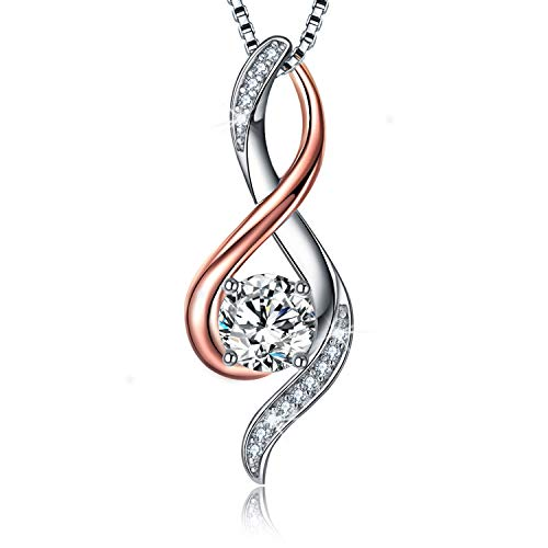 EURYNOME S925 Sterling Silver Engraved Mom Pendant Necklace Endless Love Jewelry Gifts for Mother