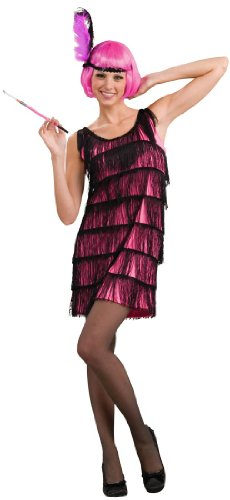 [Woman's Jazzy Flapper Costume, Pink/Black, Medium/Large] (Flapper Girl Costume For Adults)