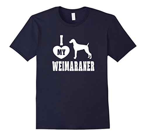 Men's I Heart Love My Weimaraner Dog Breed Women Men T-shirt Large Navy