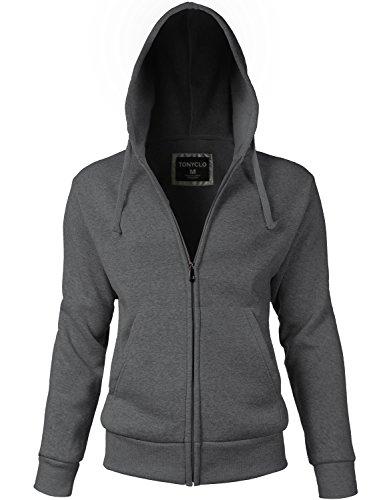 Basic Solid Kangaroo Pocket Zipper Hoodie Casual Jackets