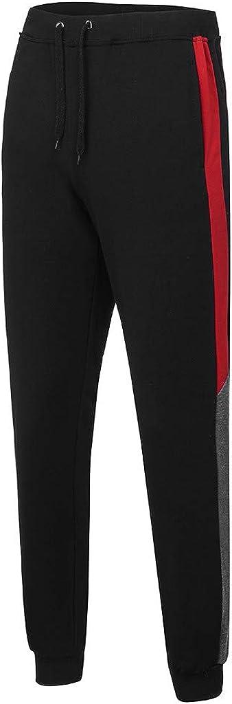 Joggers Black Men Pants Gym Wear Sweat Trousers Slim Fit Bottoms Splicing Pants