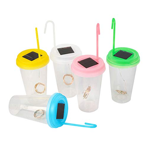 Mobestech 5PCS Solar Led Lights Milk Tea Cup Shape LED Hanging Drink Cup Lanterns Cup Lights Jar Night Lights Decor -