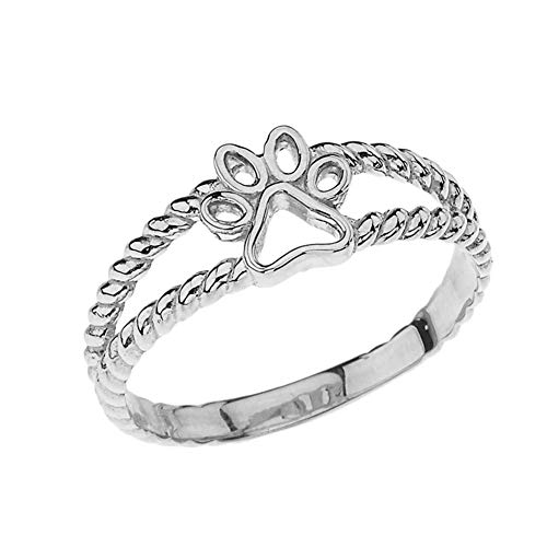 Elegant Sterling Silver Openwork Dog Paw Print Double Rope Ring (Size 6.5) ()