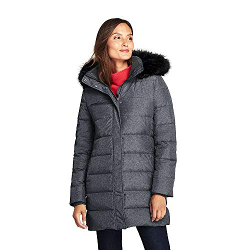 Lands' End Women's Winter Long Down Coat with Faux Fur Hood, M, Dark Stone Heather Faux Fur
