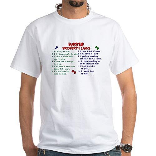 (CafePress Westie Property Laws 2 White T Shirt 100% Cotton T-Shirt, White)