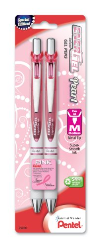 Pentel Pink BCA EnerGel Pearl Deluxe RTX Retractable Liquid Gel Pen, 0.7mm (BL77WBP2PP)