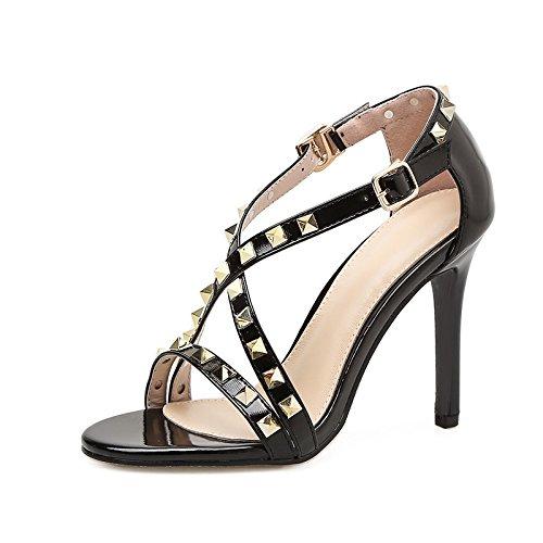 alto a con alta nuova scanalata ad pesce sandali sandali scarpe ZHZNVX i bocca alti black con con sandali estivi scatto di Fine rivetto tacco tacco tacchi vt7qqW5Ow