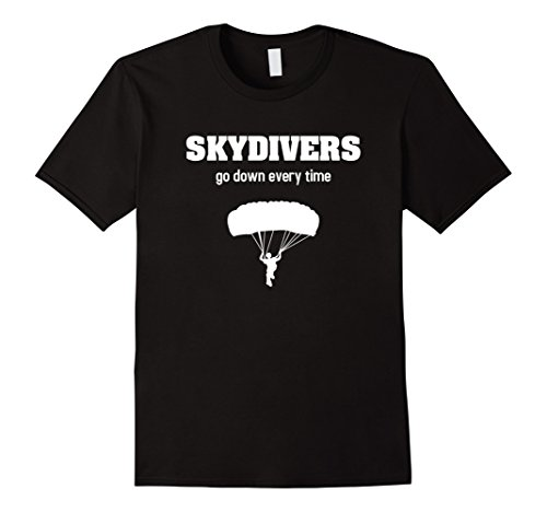 Men's Skydiving TShirt - Skydivers Go Down Every TIme Funny Shirt 2XL Black