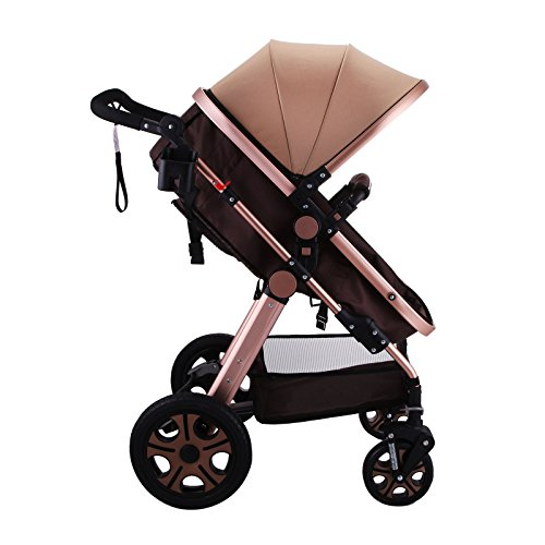 Mophorn Luxury Stroller Foldable Pushchair Pram High View Carriage Infant Stroller (Stroller) by Mophorn