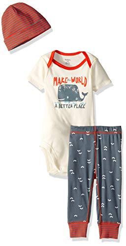 Gerber Baby Boys 3-Piece Bodysuit, Pant and Cap Set, Whale Better Place, 3-6 Months ()