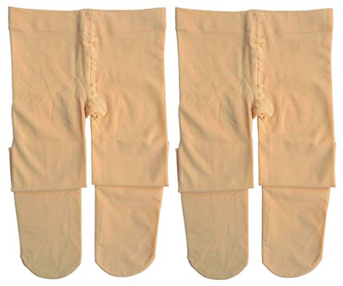 Dancina Footed Dance Tights Girls Cute Skin Color Extra Hold Soft Nylon and Spandex Hose M (6-8) Suntan x2 -