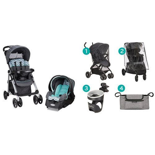 Evenflo Vive Travel System with Embrace, Spearmint Spree with Stroller Accessories Starter Kit