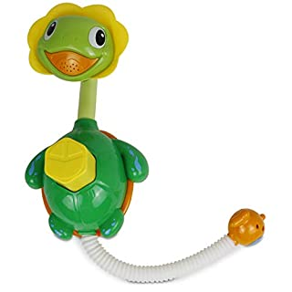 Bambiya Turtle Fountain Baby Bath Toy - Bath Activity Set Sprays Water and is Fun to Play with - No Batteries Required, Ideal Bath Tub Toys for Babies 18 Months and Older