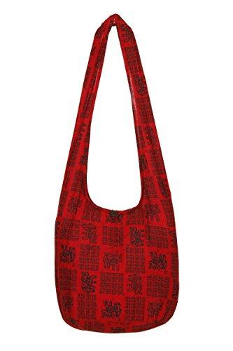 viaje bolsa nbsp;– Indic bolso de Sling de de elefante Thai nbsp;– Boho nbsp;100 Gypsy hombro nbsp;playa bolsa mano hippy Red diseño algodón pqT4ngFaxw