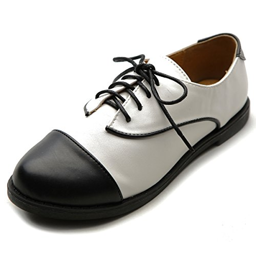 Ollio Womens Flat Shoe Lace Up Two Tone Oxford Black