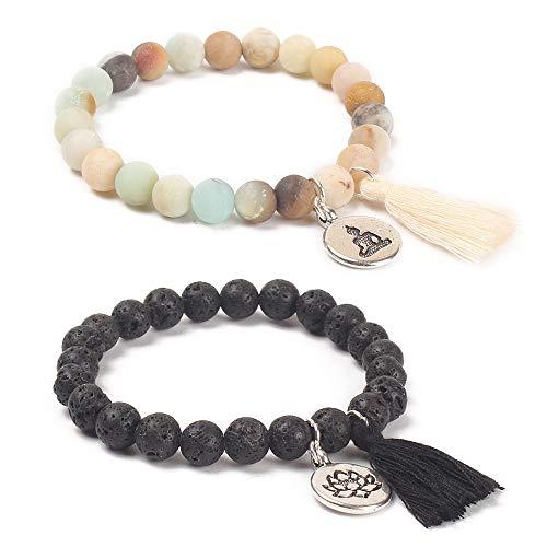 - BALIBALI Handmade Mala Beads Bracelet Natural Stone Beaded Meditation Lotus Tibetan Bracelet Tassel Bracelet Japa Yoga Rosary Prayer Charm Relationship Bracelets