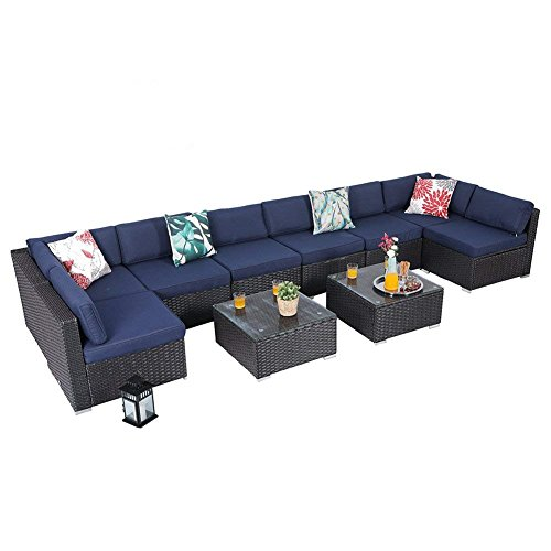 PHI VILLA Outdoor Rattan Sectional Sofa- Patio Wicker Furniture Set (10-Piece)