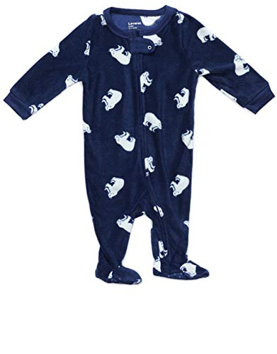 Leveret Kids Baby Boys Girls Fleece Footed Pajamas Sleeper Polar Bear (Size 3-6 Months)
