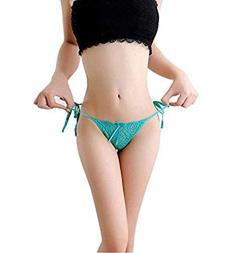 Meiye Women Tie Side Bowknot Ribbons Sexy Lace Thongs Panties Adjustable G-String Underwear (Turquoise, 2Pcs)