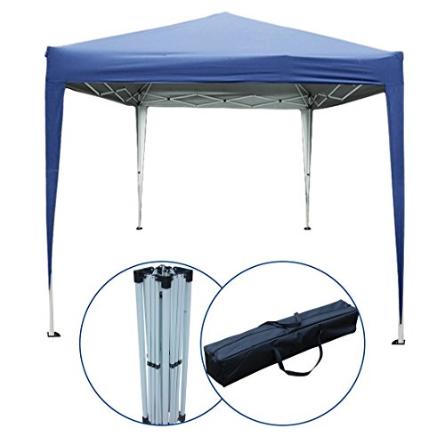 PeakTop 10 x 10 Feet EZ Pop Up Gazebo Canopy Party Tent Instant Commercial Tent Beach Sun Shade With Carry Bag 100% Waterproof-5 Colors (Navy Blue)