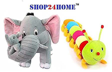 SHOP24HOME Babys Plush Grey Mother Elephant Stuffed Soft Toy, 40cm with Colourful Caterpillar, 55cm