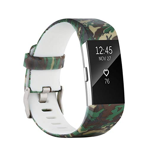 - honecumi Colorful Watch Band Replacement for Fitbit Charge 2 Wrist Strap for Men & Women Quick Release Strap Band Compatible with Fitbit Charge 2 Smart Watch-Small Size -camo