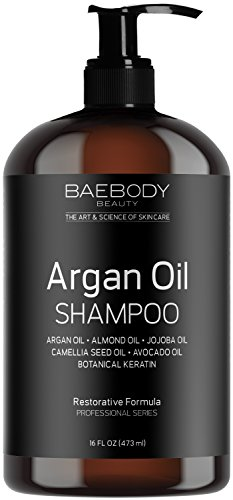 Baebody Moroccan Argan Oil Shampoo 16 Oz - Sulfate Free - Volumizing & Moisturizing, Gentle on Curly & Color Treated Hair, for Men & Women. Infused with Keratin. Silk Therapy Thickening Shampoo