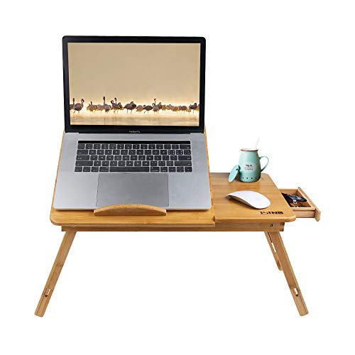 26.8 Inch Large Bamboo Wood Laptop Desk Breakfast Dinning Serving Tray Table For Bed Eating Reading With Drawer Tilting Top Height Adjustable Foldable By ISINO (Upgraded, Thicken)