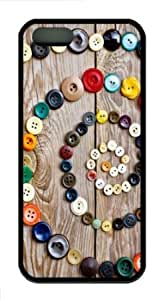 Apple iPhone 5S Case,iPhone 5S Cases - Colorful Buttons TPU Custom iPhone 5S Case Cover for iPhone 5S - Black