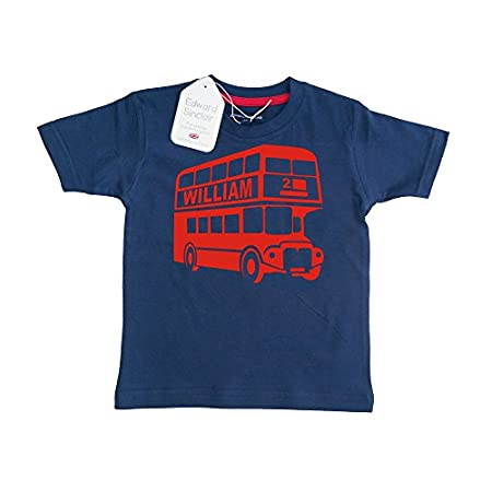 Edward Sinclair Personalised Classic Bus with Name and Number' Children's T-Shirt (Please GO to ADD Gift Options.…Enter Name & Number…and Save) 41CKwx3i2CL