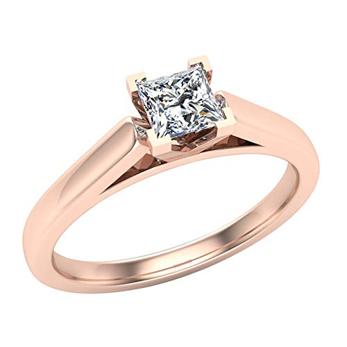 Princess cut Diamond Engagement Ring for women 1/4 Carat 14K Rose Gold 4 prong Solitaire Setting (G Color, I1 Clarity) (Ring Size 5) ()