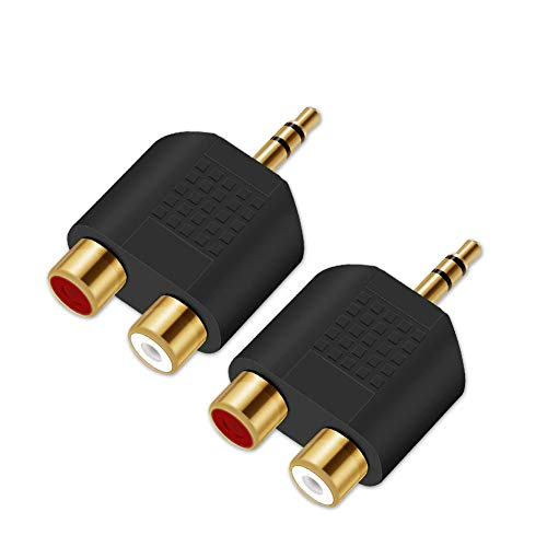 3.5mm to RCA Splitter Adapter - Oxsubor Gold Plated 3.5mm Male Stereo to 2 RCA Female Jack Y Plug Audio Converter (2 Pack)