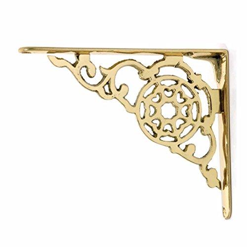 2 Antique Style Shelf Brackets Solid Bright Brass 6-1/8 In. Set Of - Shelf Solid Brass Bracket