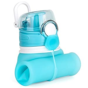ValourGo Collapsible Water Bottle - Silicone Foldable with Leak Proof Valve BPA Free, 21 Ounce (Aqua blue)