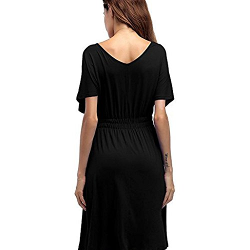 Damen Sommerkleid Einfarbiges KleidFrauen VAusschnitt Größe ...