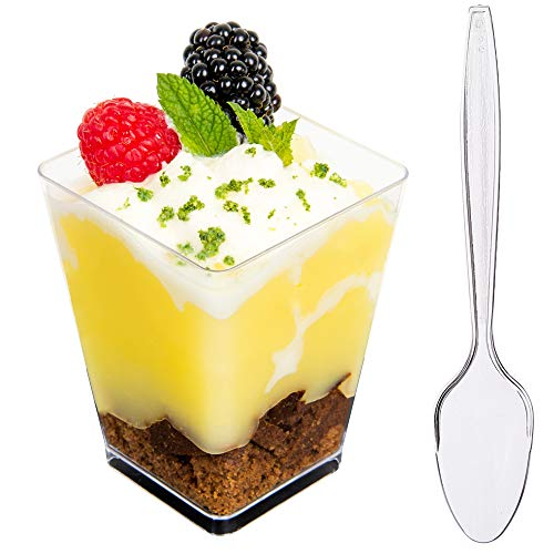 DLux 50 x 5 oz Mini Dessert Cups with Spoons, Square Large - Clear Plastic Parfait Appetizer Cup - Small Disposable Reusable Serving Bowl for Tasting Party Desserts Appetizers - With Recipe Ebook -