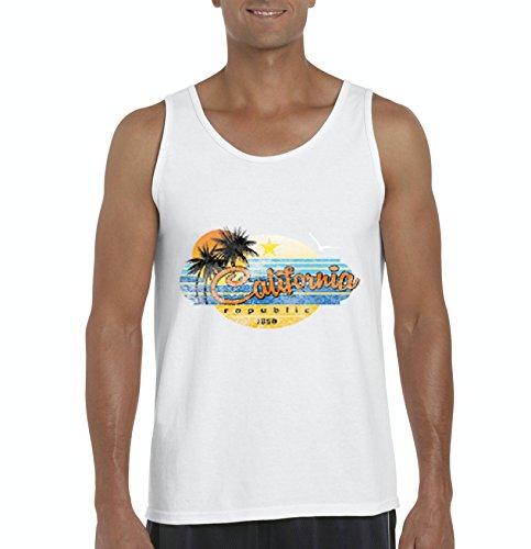 Ugo California Republic Palm Tree Sun Beach What To Do In California? Travel Guide Men's Tank - Carson California Airport