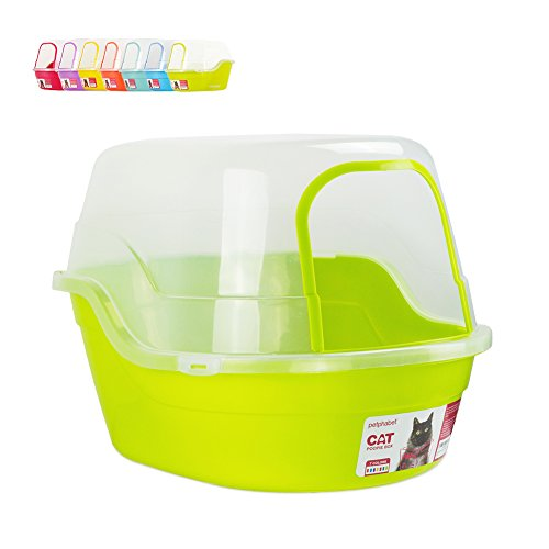 Petphabet Jumbo Hooded Cat Litter Box, Extra Large, Lime Green