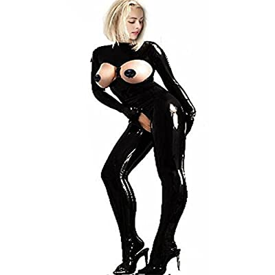 Fashion Queen Women's Sexy Open Crotch Catsuit Wetlook Leather Jumpsuit