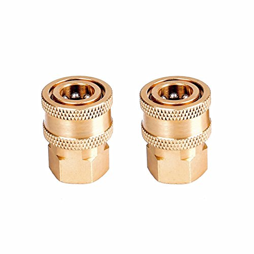 """Tools Pro Pure Brass Body Quick 1/4"""" Coupler Connector fittings, 1/4"""" Female NPT Socket and 1/4"""" Female NPT Thread, Max 5000 PSI, 2 Pieces Pressure Washer (Brass Wand Replacement)"""