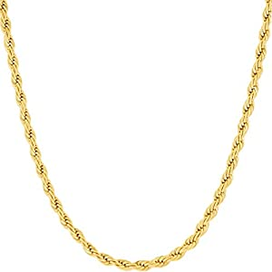 Best Epic Trends 41CKyKFgJzL._SS300_ LIFETIME JEWELRY 3mm Diamond Cut Rope Chain Necklace 24k Real Gold Plated