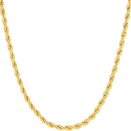 Lifetime Jewelry Pendant Necklace 3MM Rope Chain 24K Gold Plated Fashion Jewelry for Men or Women Standard Size 18 -