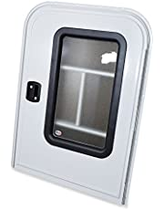 """LeisureRV Teardrop 26"""" x 32"""" Face Mount Foam Core Passenger Side Door with Radius Corners on Top and Square Bottom with Screen Door (White, 26"""" w X 32"""" h Pass Side)"""
