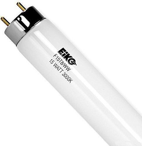 EiKO 15523 Model F15T8/WW Linear Fluorescent Tube, 15 Watts, Medium Bipin G13 Base, T-8 Bulb, 18.0
