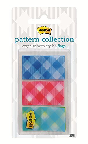 Post-it Flags, Color Mixing Flags, Gingham Pattern Collection, Each Flag Sticks Securely, Removes Cleanly.94 in. Wide, Assorted Colors, 60/PK, (680-PLAID2)