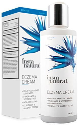 Eczema Cream - Natural Daily Face Moisturizer & Body Lotion Provides Deep Nourishment for Sensitive, Dry, Cracked Skin - Fragrance Free, Anti Itch Treatment, Redness Relief, InstaNatural - 4 oz (Treatment Face Lotion)