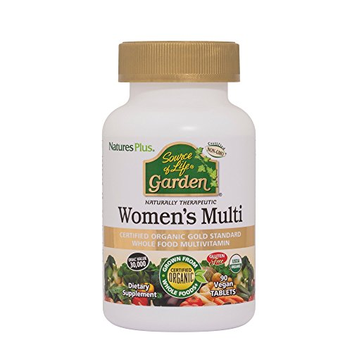 Natures Plus Source of Life Garden Organic Womens Multi - 90 Vegan Tablets - Whole Food Multivitamin and Mineral Supplement, Energy Boost - Vegetarian, Gluten Free - 30 Servings