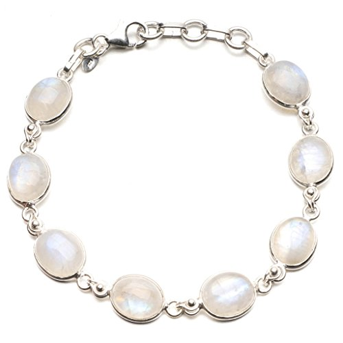 StarGems(tm) Natural Rainbow Moonstone 925 Sterling Silver Tennis Bracelet